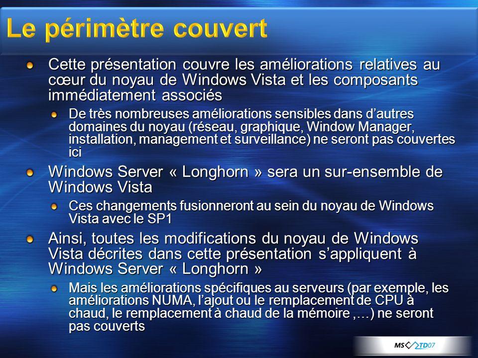 Cette présentation couvre les améliorations relatives au cœur du noyau de Windows Vista et les composants immédiatement associés De très nombreuses am