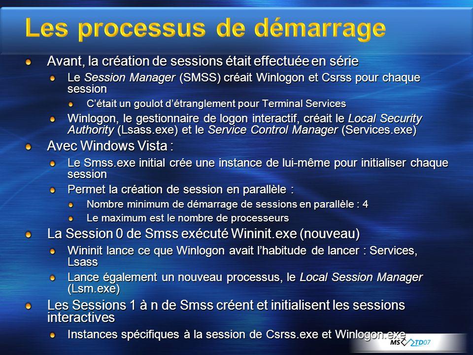 Avant, la création de sessions était effectuée en série Le Session Manager (SMSS) créait Winlogon et Csrss pour chaque session Cétait un goulot détran