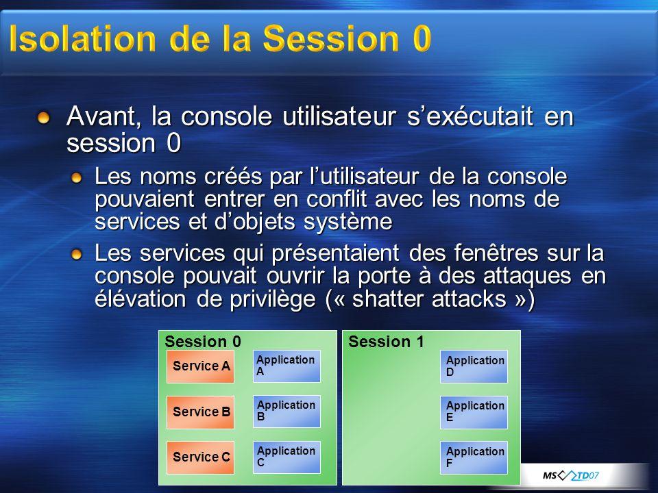 Avant, la console utilisateur sexécutait en session 0 Les noms créés par lutilisateur de la console pouvaient entrer en conflit avec les noms de servi