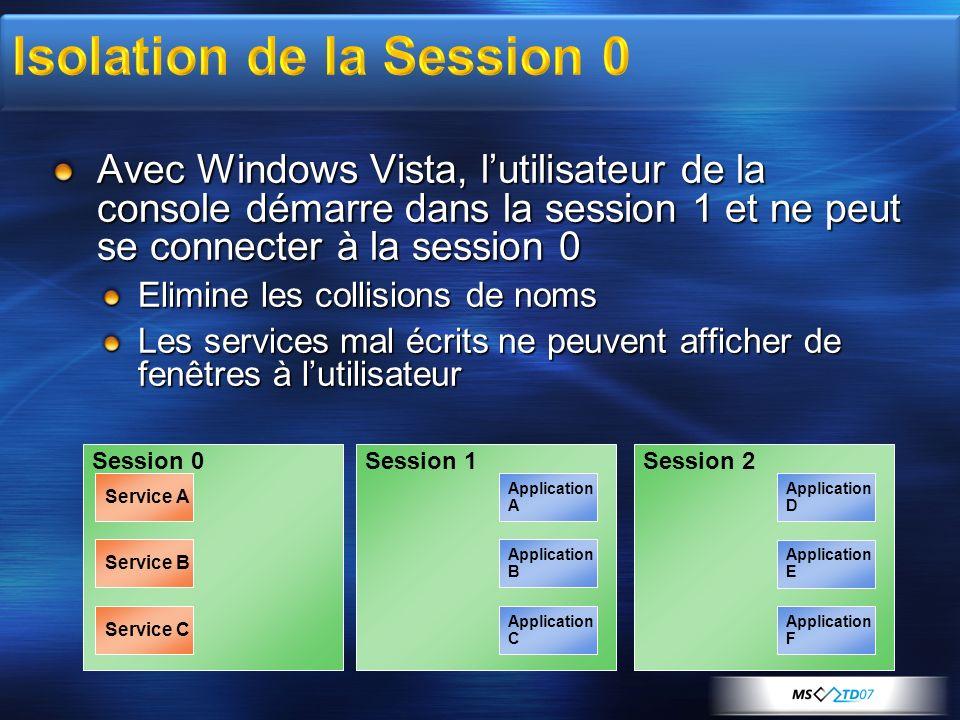 Avec Windows Vista, lutilisateur de la console démarre dans la session 1 et ne peut se connecter à la session 0 Elimine les collisions de noms Les ser