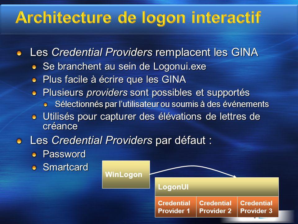 Les Credential Providers remplacent les GINA Se branchent au sein de Logonui.exe Plus facile à écrire que les GINA Plusieurs providers sont possibles