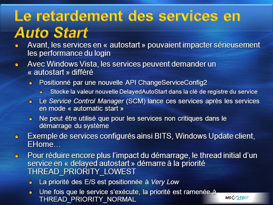 Avant, les services en « autostart » pouvaient impacter sérieusement les performance du login Avec Windows Vista, les services peuvent demander un « a