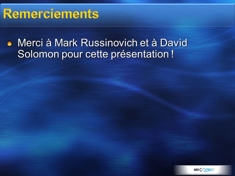 Merci à Mark Russinovich et à David Solomon pour cette présentation !