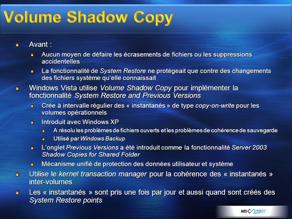 Avant : Aucun moyen de défaire les écrasements de fichiers ou les suppressions accidentelles La fonctionnalité de System Restore ne protégeait que con