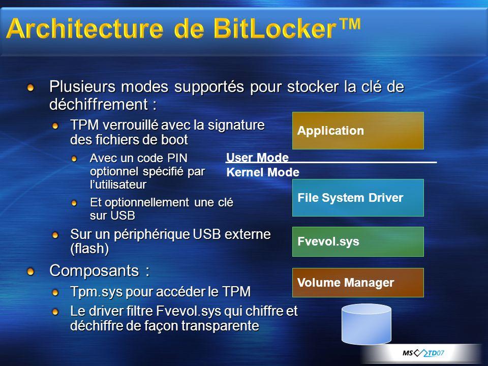Plusieurs modes supportés pour stocker la clé de déchiffrement : TPM verrouillé avec la signature des fichiers de boot Avec un code PIN optionnel spéc