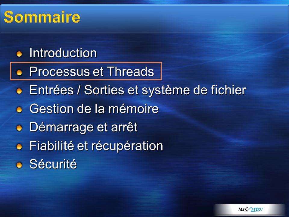 Introduction Processus et Threads Entrées / Sorties et système de fichier Gestion de la mémoire Démarrage et arrêt Fiabilité et récupération Sécurité