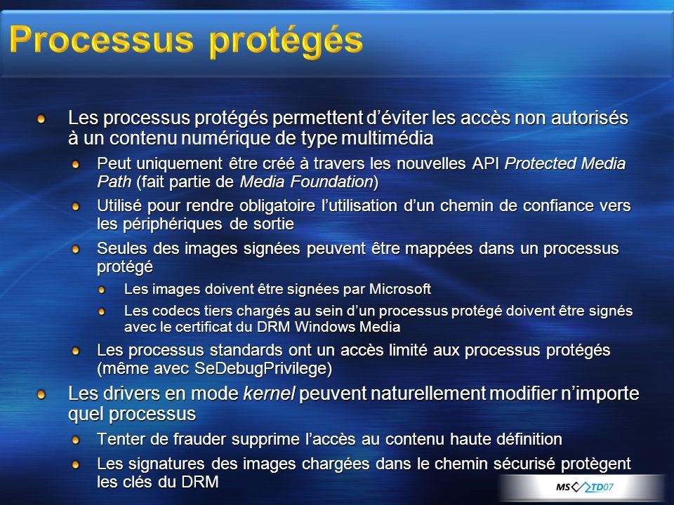 Les processus protégés permettent déviter les accès non autorisés à un contenu numérique de type multimédia Peut uniquement être créé à travers les no
