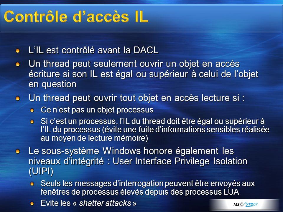 LIL est contrôlé avant la DACL Un thread peut seulement ouvrir un objet en accès écriture si son IL est égal ou supérieur à celui de lobjet en questio