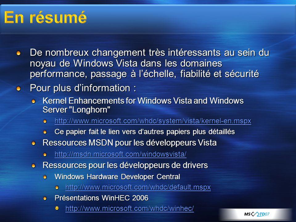 De nombreux changement très intéressants au sein du noyau de Windows Vista dans les domaines performance, passage à léchelle, fiabilité et sécurité Po