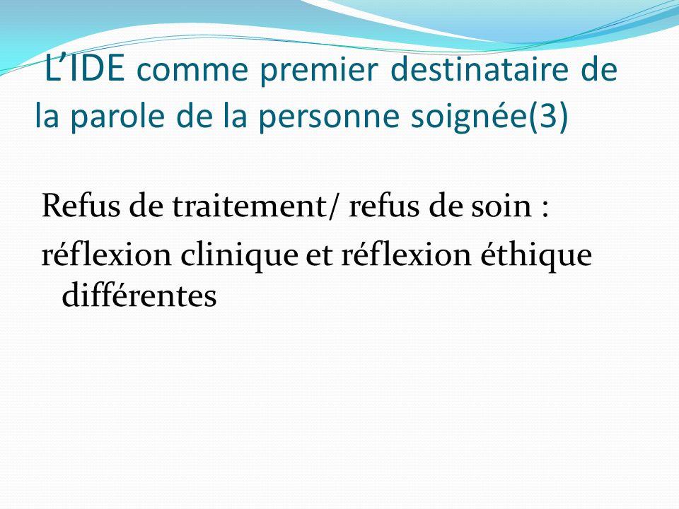 LIDE comme premier destinataire de la parole de la personne soignée(3) Refus de traitement/ refus de soin : réflexion clinique et réflexion éthique di