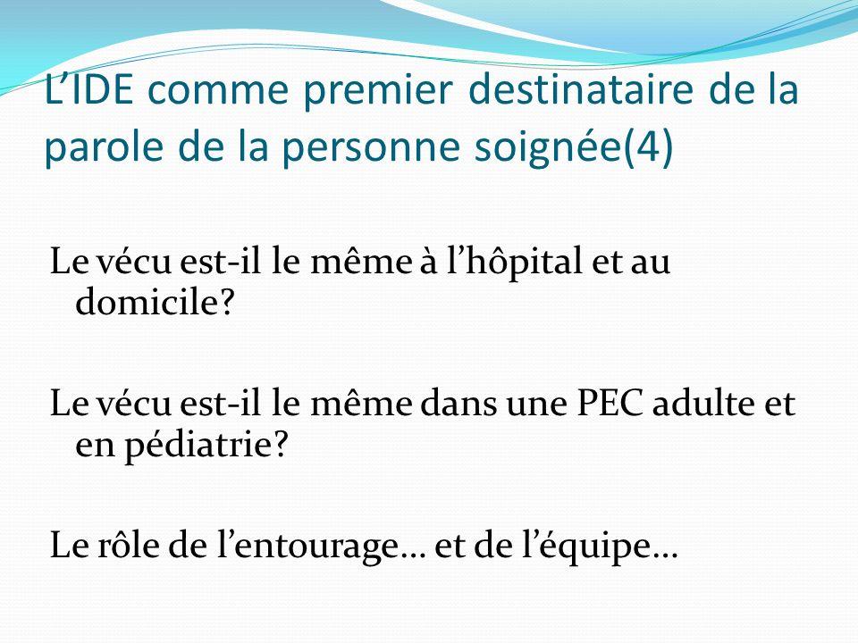 LIDE comme premier destinataire de la parole de la personne soignée(4) Le vécu est-il le même à lhôpital et au domicile? Le vécu est-il le même dans u