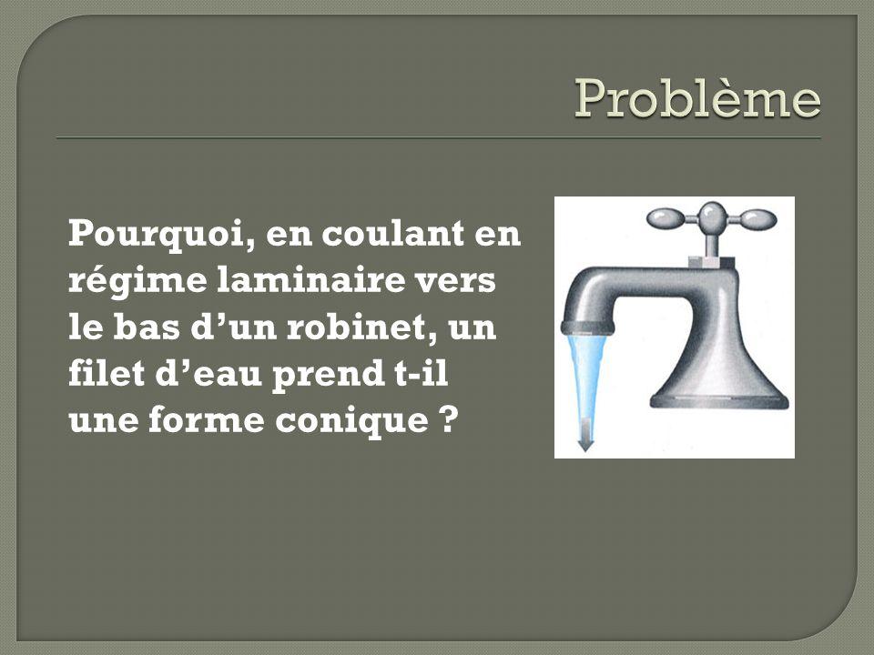 Pourquoi, en coulant en régime laminaire vers le bas dun robinet, un filet deau prend t-il une forme conique ?