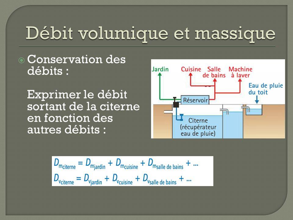 Conservation des débits : Exprimer le débit sortant de la citerne en fonction des autres débits :