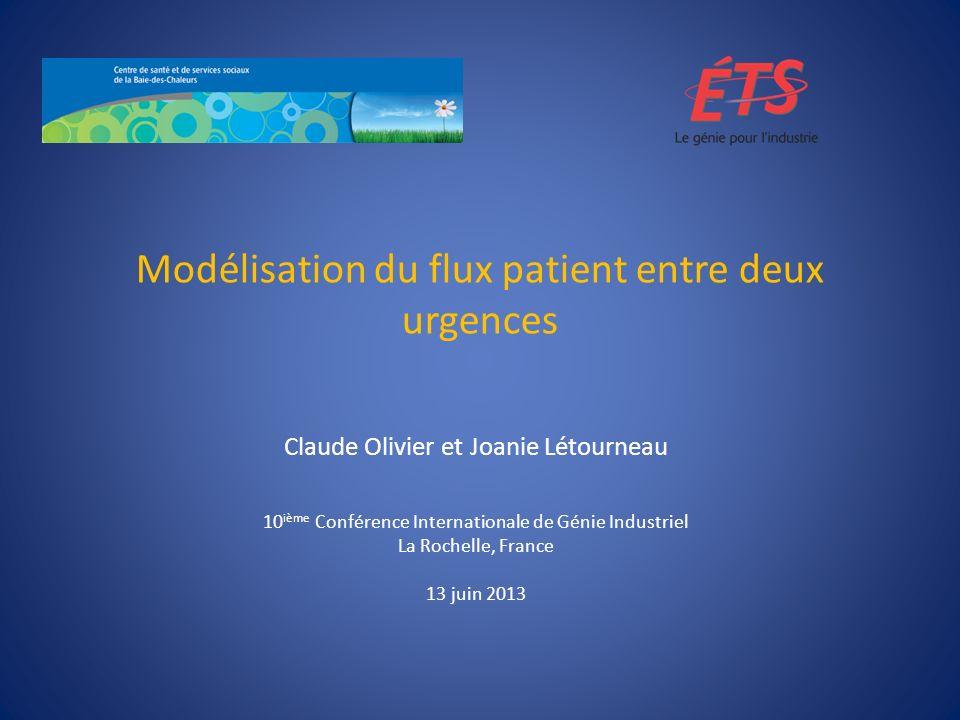 Modélisation du flux patient entre deux urgences Claude Olivier et Joanie Létourneau 10 ième Conférence Internationale de Génie Industriel La Rochelle