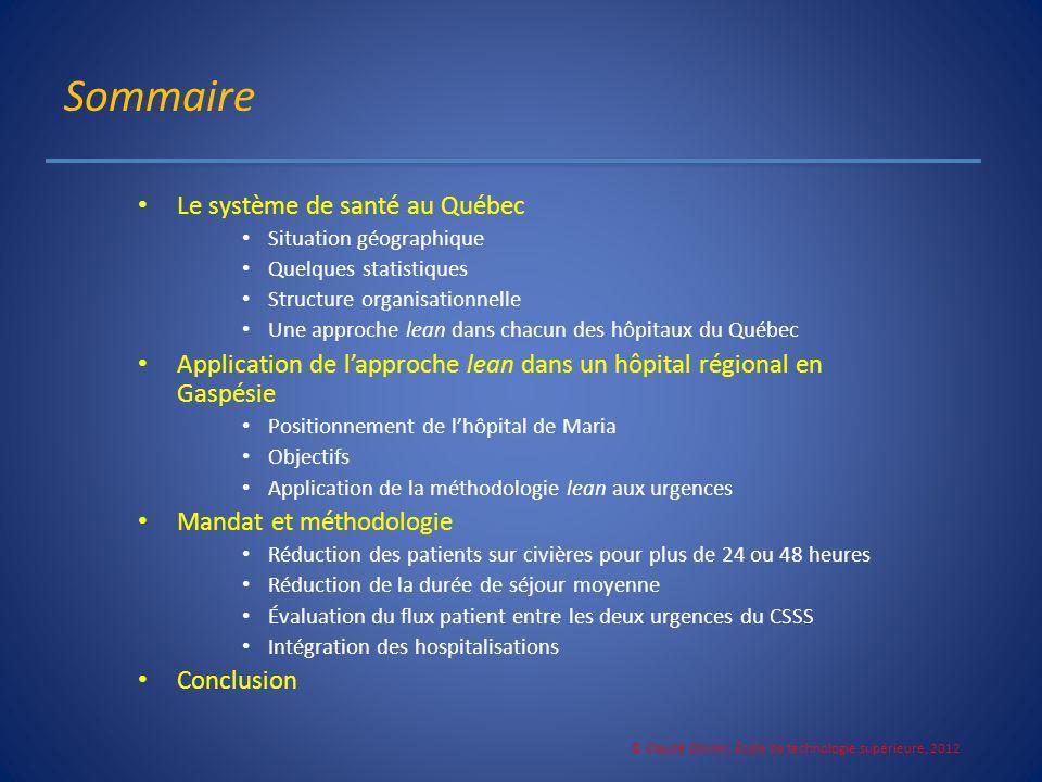 Sommaire Le système de santé au Québec Situation géographique Quelques statistiques Structure organisationnelle Une approche lean dans chacun des hôpi