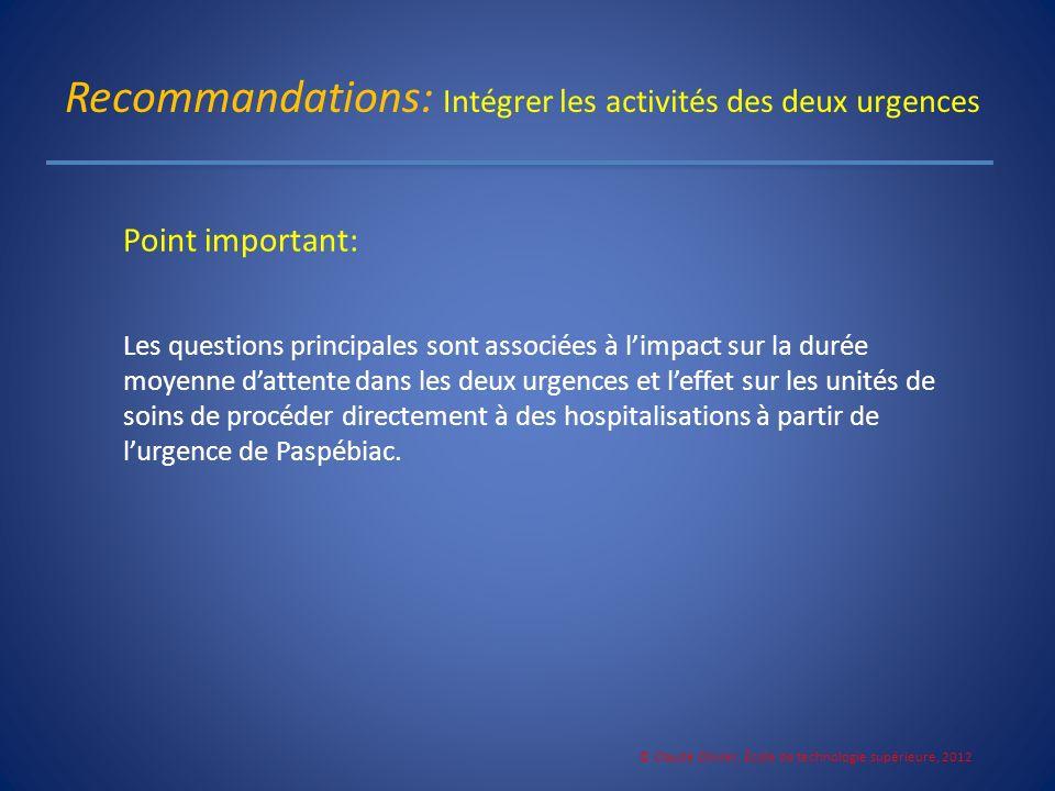 Recommandations: Intégrer les activités des deux urgences Point important: Les questions principales sont associées à limpact sur la durée moyenne dat