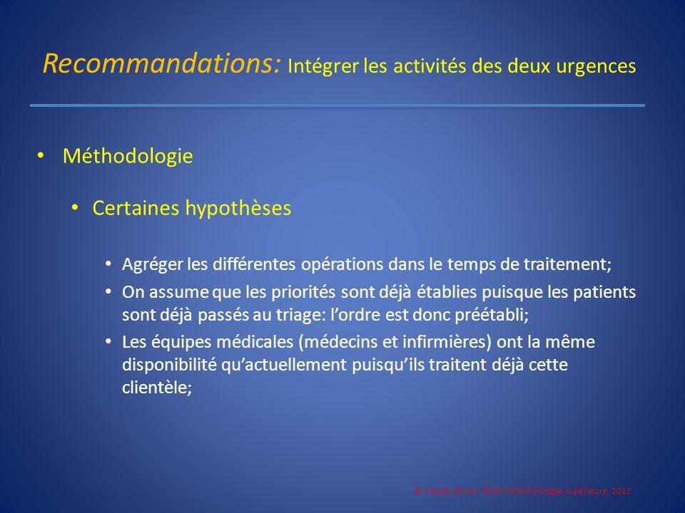 Recommandations: Intégrer les activités des deux urgences Méthodologie Certaines hypothèses Agréger les différentes opérations dans le temps de traite