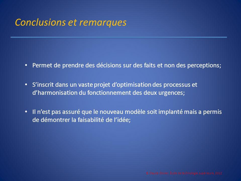 Conclusions et remarques Permet de prendre des décisions sur des faits et non des perceptions; Sinscrit dans un vaste projet doptimisation des process
