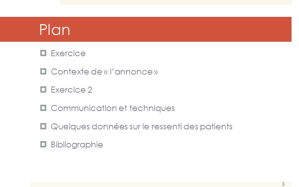 3 Plan Exercice Contexte de « lannonce » Exercice 2 Communication et techniques Quelques données sur le ressenti des patients Bibliographie