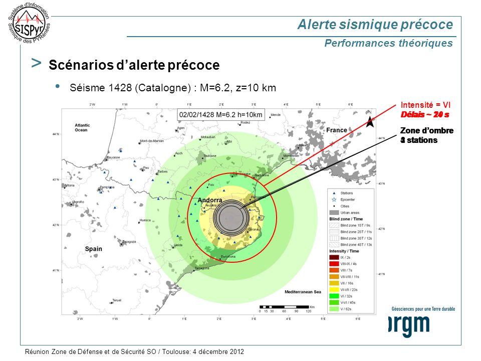 > Scénarios dalerte précoce Séisme 1428 (Catalogne) : M=6.2, z=10 km Intensité = VI Zone dombre 4 stations Zone dombre 3 stations Zone dombre 2 stations Zone dombre 1 station Délais ~ 24 sDélais ~ 21 s Délais ~ 20 sDélais ~ 19 s Alerte sismique précoce Performances théoriques Réunion Zone de Défense et de Sécurité SO / Toulouse: 4 décembre 2012