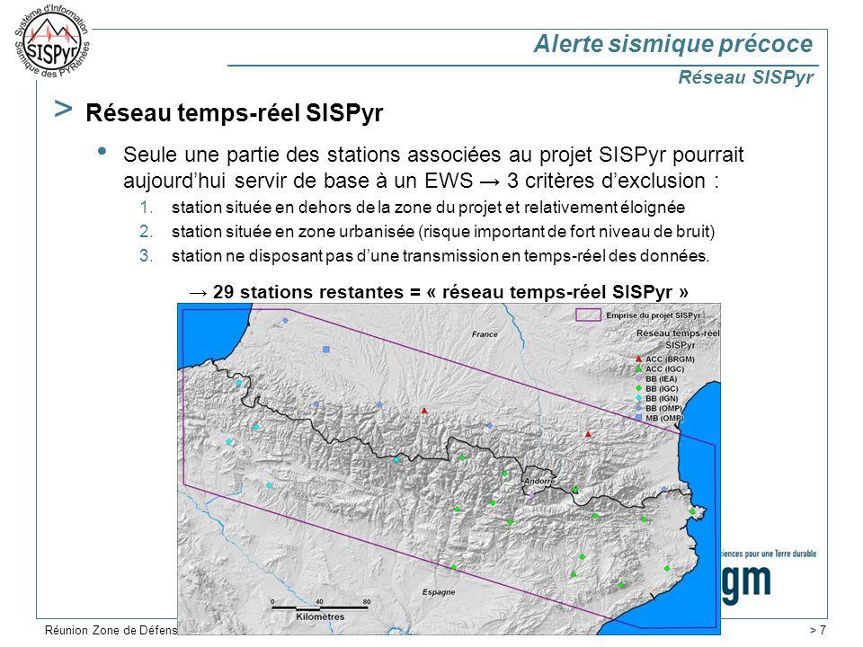 > 7 > Réseau temps-réel SISPyr Seule une partie des stations associées au projet SISPyr pourrait aujourdhui servir de base à un EWS 3 critères dexclusion : 1.station située en dehors de la zone du projet et relativement éloignée 2.station située en zone urbanisée (risque important de fort niveau de bruit) 3.station ne disposant pas dune transmission en temps-réel des données.