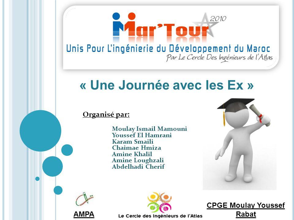 « Une Journée avec les Ex » AMPA Organisé par: Moulay Ismail Mamouni Youssef El Hamrani Karam Smaili Chaimae Hmiza Amine Khalil Amine Loughzali Abdelhadi Cherif CPGE Moulay Youssef Rabat