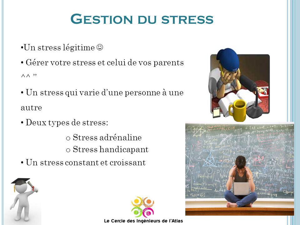 Un stress légitime Gérer votre stress et celui de vos parents ^^ Un stress qui varie dune personne à une autre Deux types de stress: o Stress adrénaline o Stress handicapant Un stress constant et croissant G ESTION DU STRESS