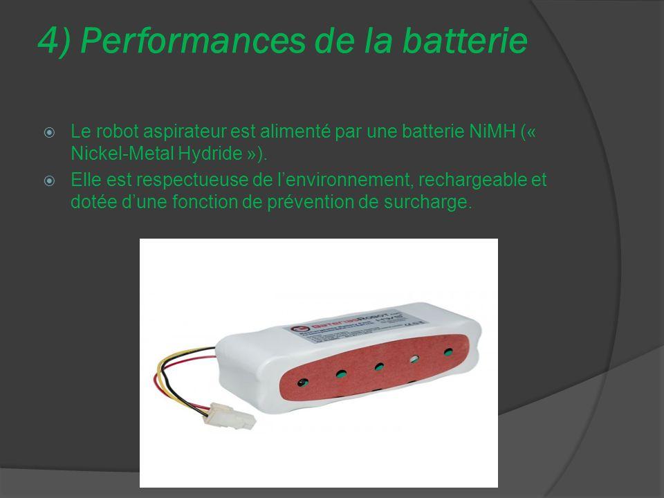 4) Performances de la batterie Le robot aspirateur est alimenté par une batterie NiMH (« Nickel-Metal Hydride »). Elle est respectueuse de lenvironnem