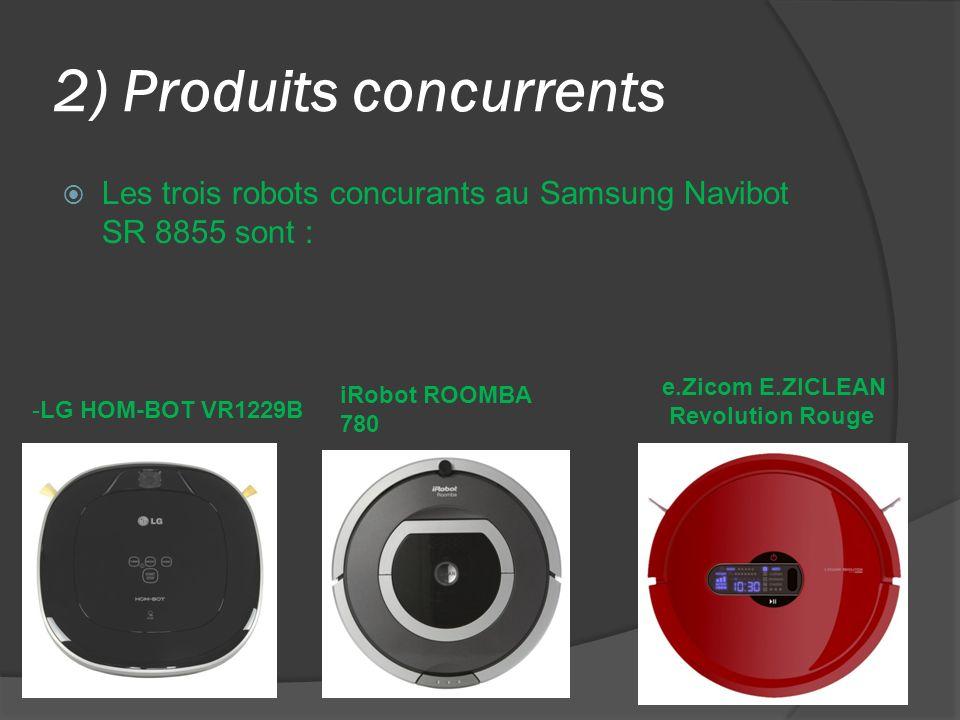 2) Produits concurrents Les trois robots concurants au Samsung Navibot SR 8855 sont : e.Zicom E.ZICLEAN Revolution Rouge iRobot ROOMBA 780 -LG HOM-BOT VR1229B