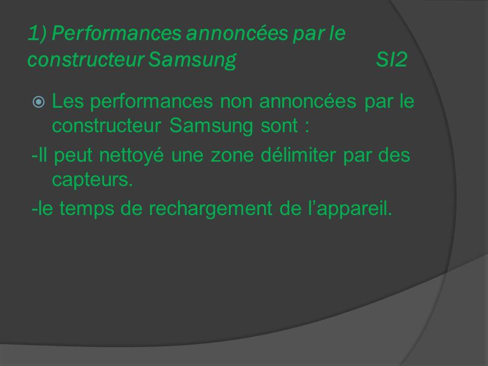 1) Performances annoncées par le constructeur Samsung SI2 Les performances non annoncées par le constructeur Samsung sont : -Il peut nettoyé une zone délimiter par des capteurs.