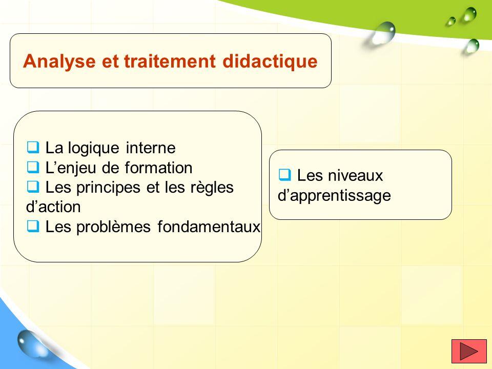 Analyse et traitement didactique La logique interne Lenjeu de formation Les principes et les règles daction Les problèmes fondamentaux Les niveaux dap
