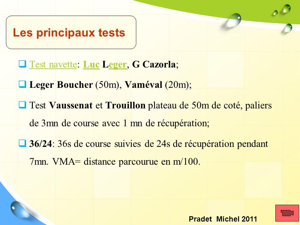 Test navette: Luc Leger, G Cazorla; Test navetteLuceger Leger Boucher (50m), Vaméval (20m); Test Vaussenat et Trouillon plateau de 50m de coté, palier