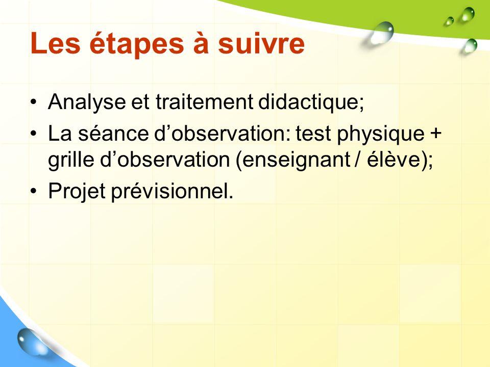Les étapes à suivre Analyse et traitement didactique; La séance dobservation: test physique + grille dobservation (enseignant / élève); Projet prévisi