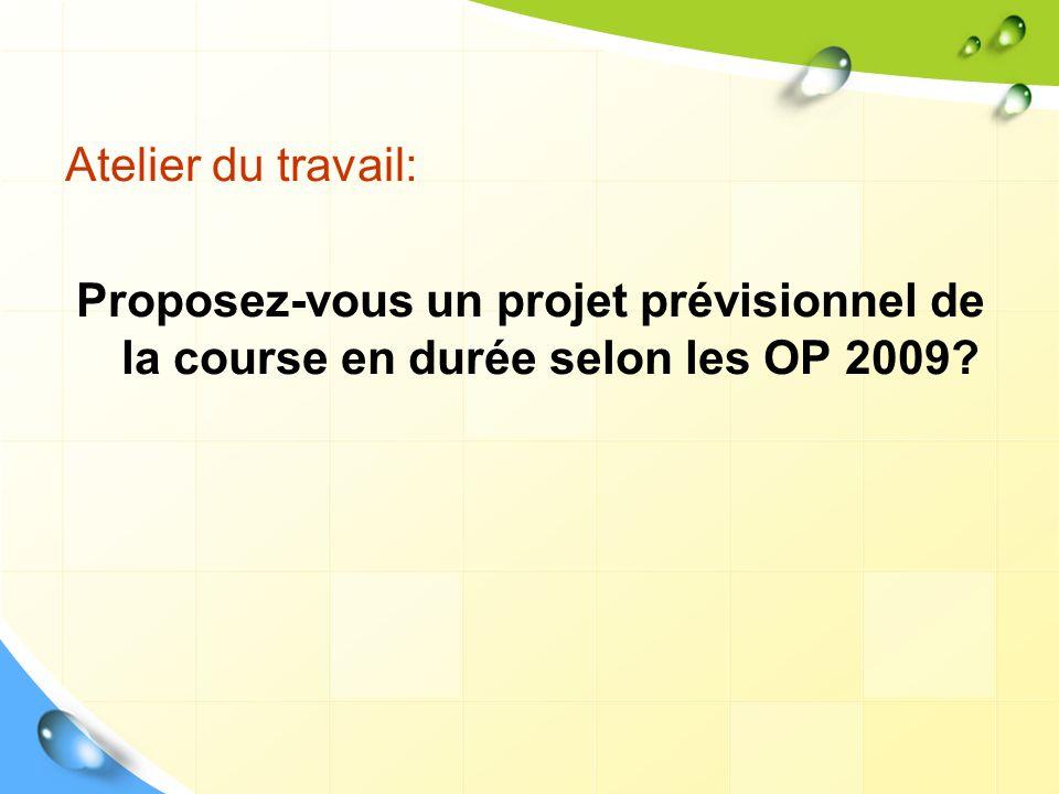 Atelier du travail: Proposez-vous un projet prévisionnel de la course en durée selon les OP 2009?