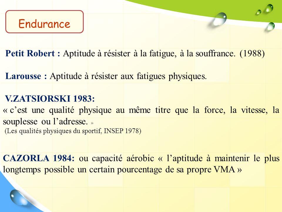 Petit Robert : Aptitude à résister à la fatigue, à la souffrance. (1988) Larousse : Aptitude à résister aux fatigues physiques. V.ZATSIORSKI 1983: « c
