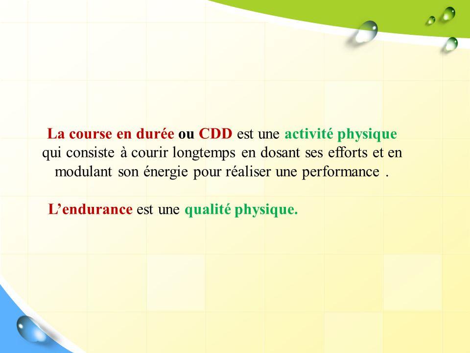 La course en durée ou CDD est une activité physique qui consiste à courir longtemps en dosant ses efforts et en modulant son énergie pour réaliser une