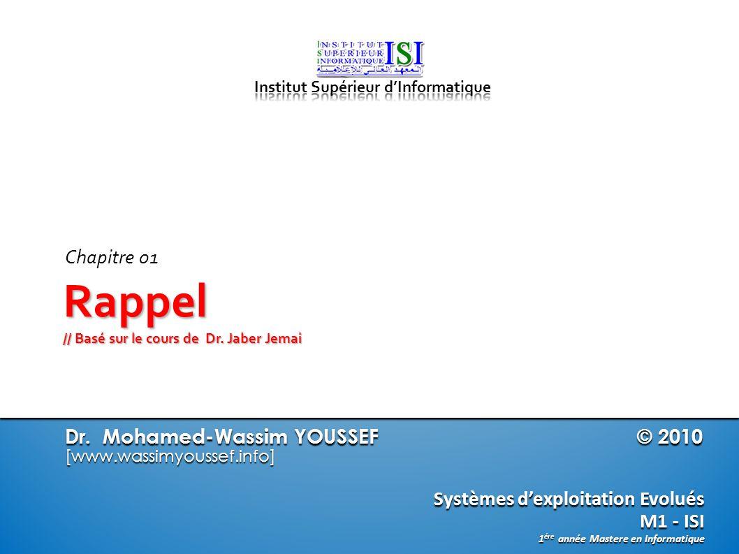 Dr. Mohamed-Wassim YOUSSEF © 2010 [www.wassimyoussef.info] Systèmes dexploitation Evolués M1 - ISI 1 ére année Mastere en Informatique Rappel // Basé