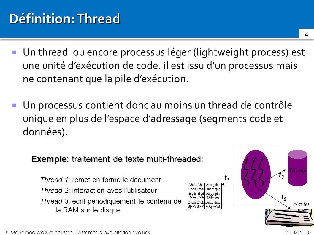 Dr. Mohamed Wassim Youssef – Systèmes dexploitation évoluésM1- ISI 2010 Définition: Thread Un thread ou encore processus léger (lightweight process) e