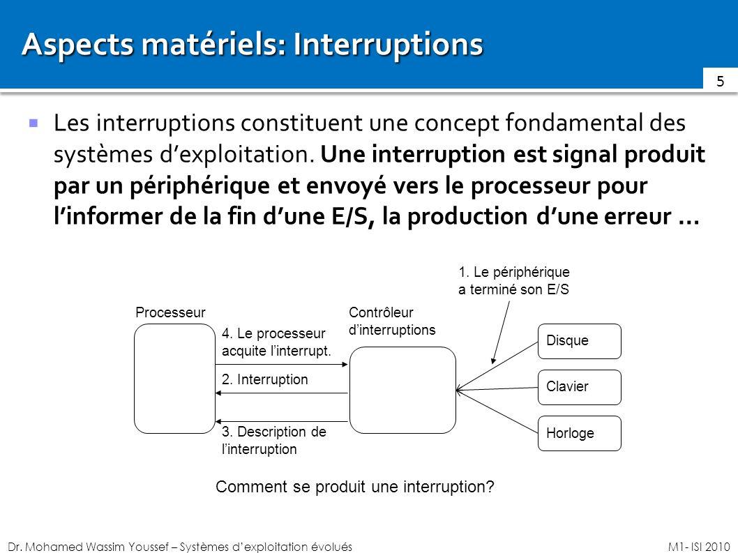 Dr. Mohamed Wassim Youssef – Systèmes dexploitation évoluésM1- ISI 2010 Aspects matériels: Interruptions Les interruptions constituent une concept fon