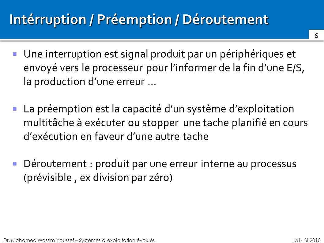 Dr. Mohamed Wassim Youssef – Systèmes dexploitation évoluésM1- ISI 2010 Intérruption / Préemption / Déroutement Une interruption est signal produit pa