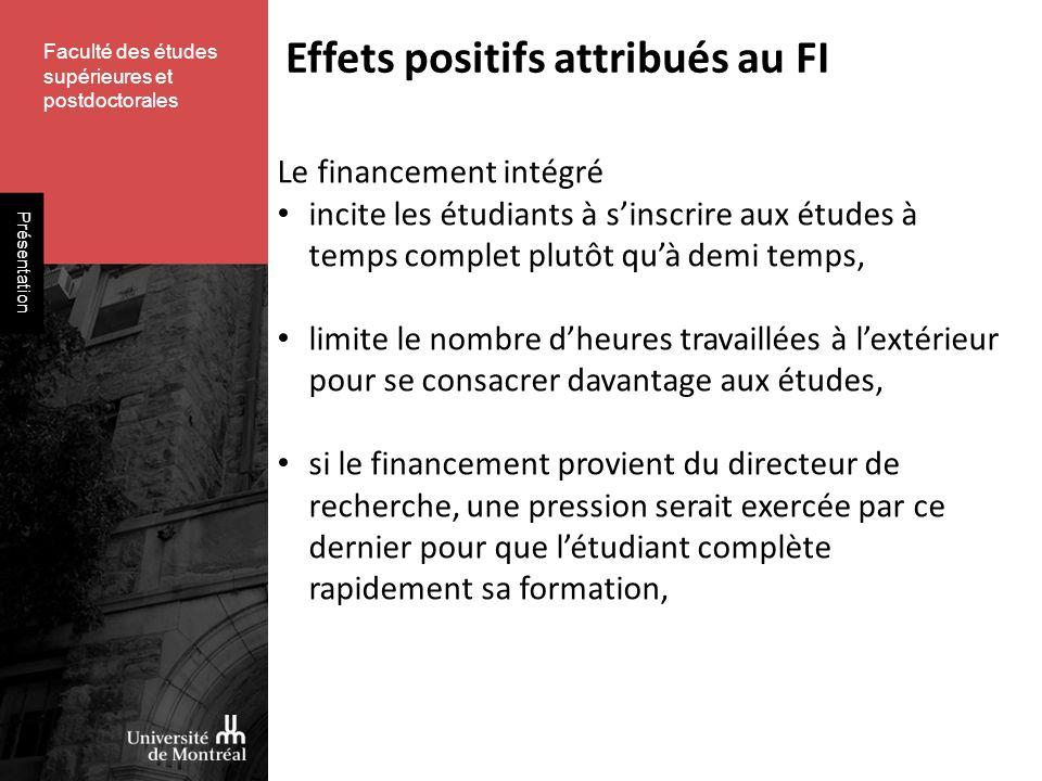 Faculté des études supérieures et postdoctorales Présentation Effets positifs attribués au FI Le financement intégré incite les étudiants à sinscrire