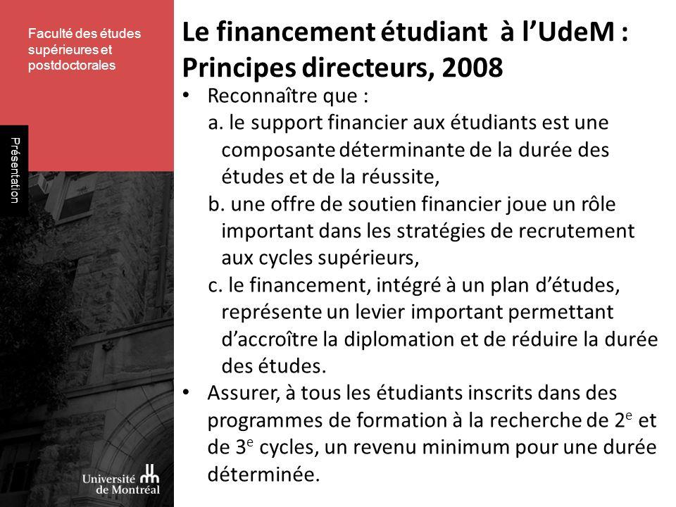 Présentation Reconnaître que : a. le support financier aux étudiants est une composante déterminante de la durée des études et de la réussite, b. une