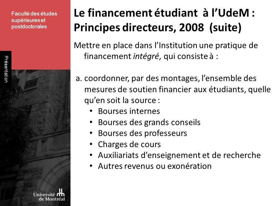 Faculté des études supérieures et postdoctorales Présentation Mettre en place dans lInstitution une pratique de financement intégré, qui consiste à : a.