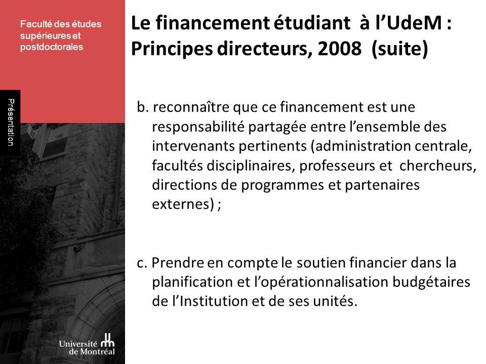 Faculté des études supérieures et postdoctorales Présentation b. reconnaître que ce financement est une responsabilité partagée entre lensemble des in