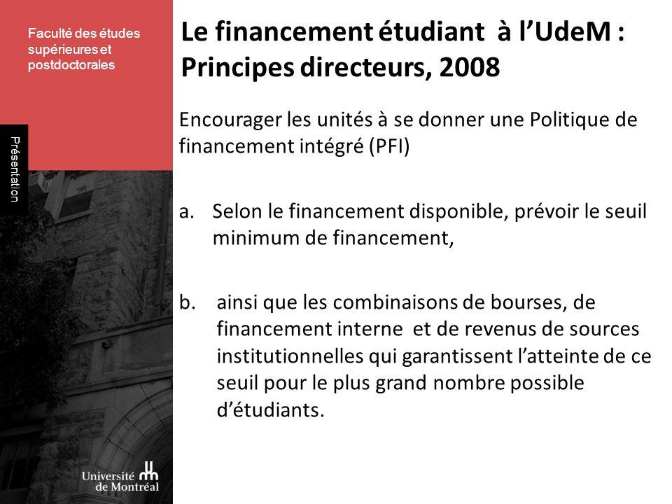 Faculté des études supérieures et postdoctorales Présentation Encourager les unités à se donner une Politique de financement intégré (PFI) a.Selon le