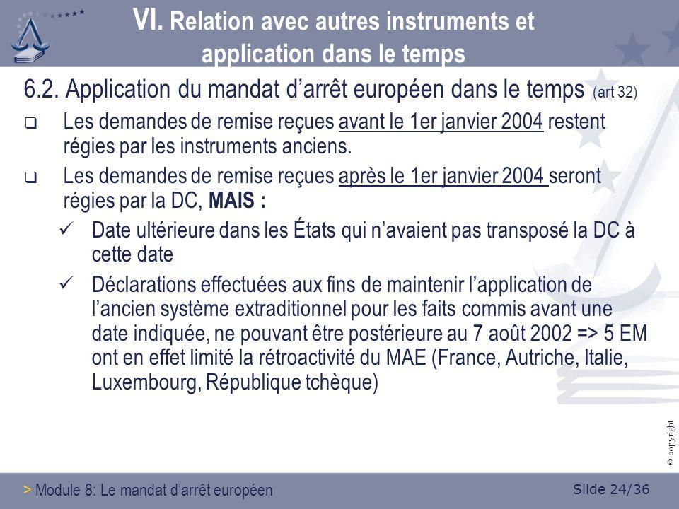 Slide 24/36 © copyright VI. Relation avec autres instruments et application dans le temps 6.2.