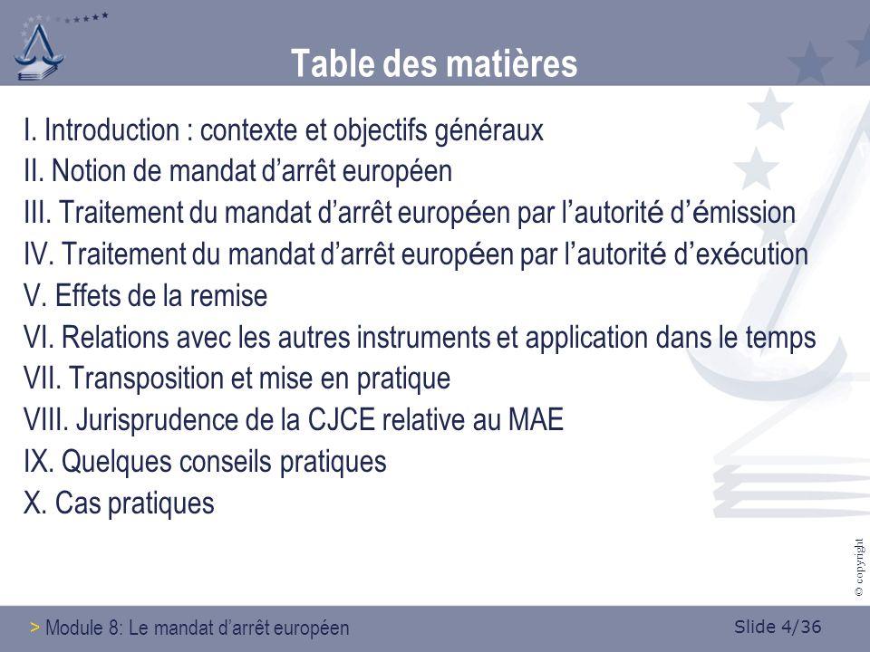Slide 15/36 © copyright 4.3.2 Motifs de refus Principe: le mandat darrêt européen doit être exécuté Motifs de refus obligatoires et facultatifs Toute décision de refus doit être motivée Toute non-exécution doit se fonder sur un des motifs de non- exécution admis.