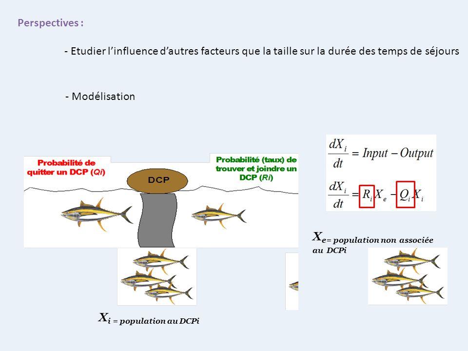 X i = population au DCPi X e= population non associée au DCPi Perspectives : - Etudier linfluence dautres facteurs que la taille sur la durée des temp