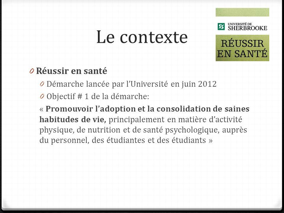 Le contexte 0 Réussir en santé 0 Démarche lancée par lUniversité en juin 2012 0 Objectif # 1 de la démarche: « Promouvoir ladoption et la consolidatio