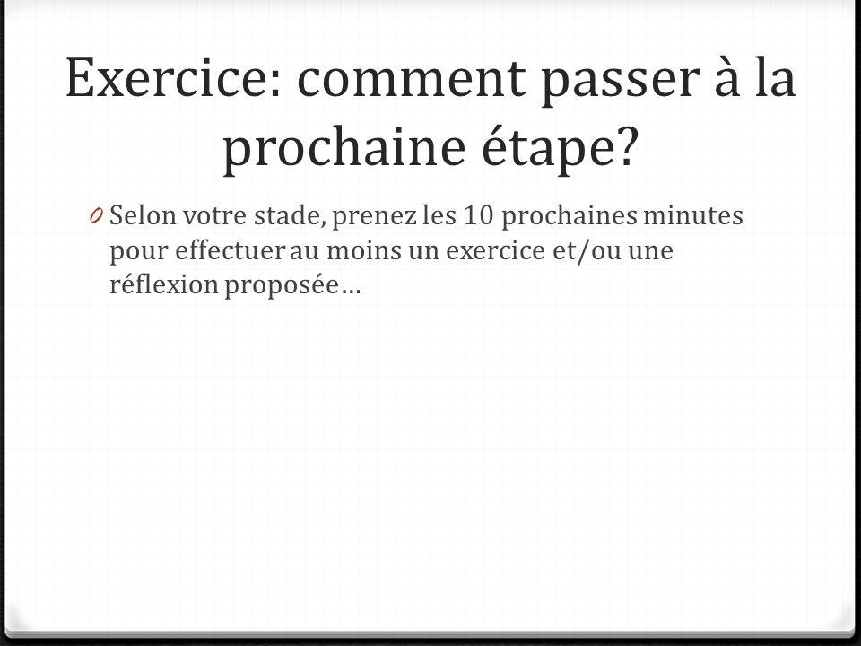 Exercice: comment passer à la prochaine étape? 0 Selon votre stade, prenez les 10 prochaines minutes pour effectuer au moins un exercice et/ou une réf